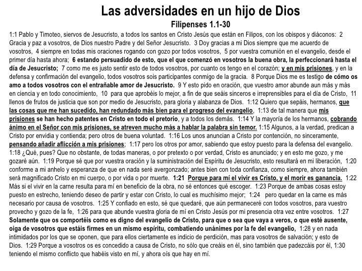 Las adversidades en un hijo de Dios                                                               Filipenses 1.1-301:1 Pab...