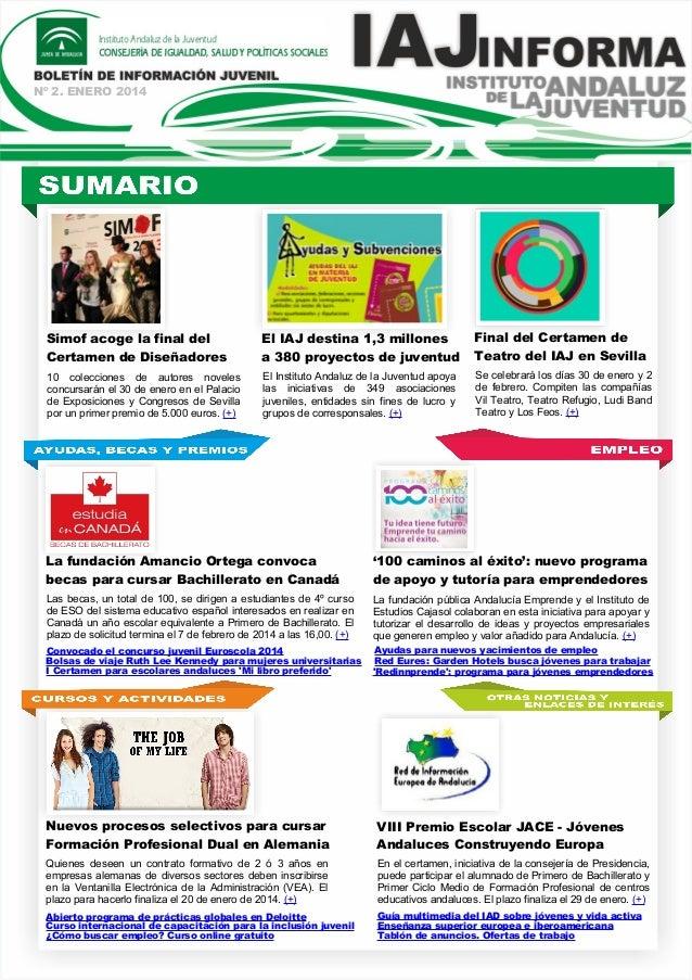 Nº 2. ENERO 2014  Simof acoge la final del Certamen de Diseñadores  El IAJ destina 1,3 millones a 380 proyectos de juventu...