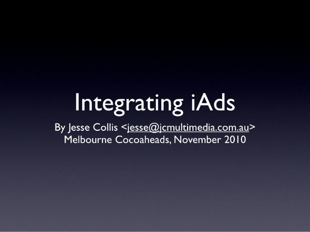 Integrating iAds (Melbourne Cocoaheads November 2010)
