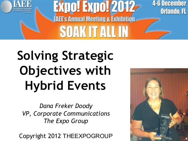 Solving StrategicObjectives with Hybrid Events      Dana Freker DoodyVP, Corporate Communications       The Expo GroupCopy...