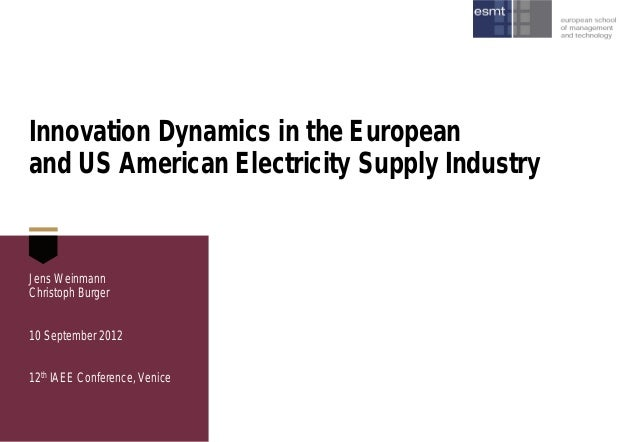 Innovation Dynamics in the European and US American Electricity Supply Industry  Jens Weinmann Christoph Burger 10 Septemb...