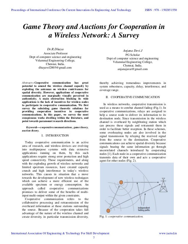 Game Theory And Auctions For Cooperation In A Wireless Network Survey DrR