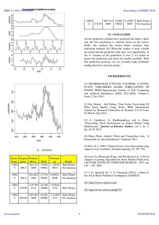 time series analysis and stock market Long-term stock market forecasting using gaussian processes 44 time to buy/sell in stock market to maximize the profit 83 time series analysis (mori.