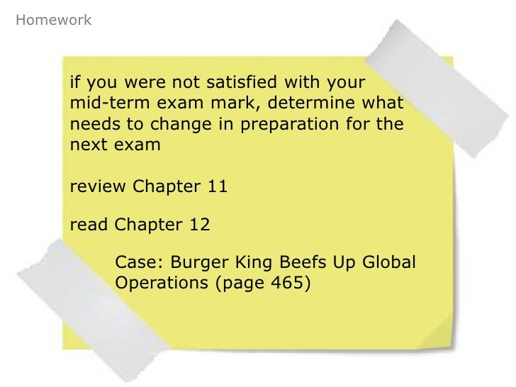 Burger King Beefs up Global Operations - Case Study Example