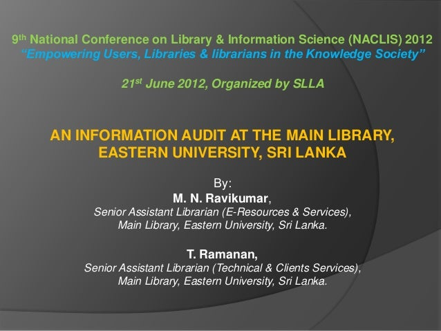 "9th National Conference on Library & Information Science (NACLIS) 2012 ""Empowering Users, Libraries & librarians in the Kn..."