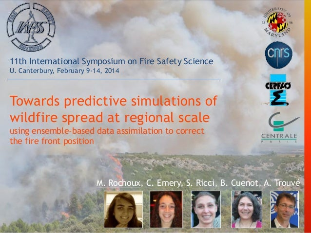 Towards predictive simulations of wildfire spread at regional scale using ensemble-based data assimilation to correct the ...