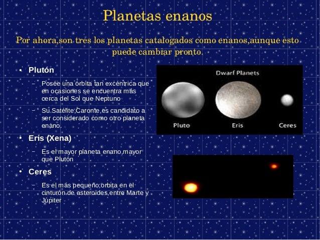 PlanetasenanosPorahora,sontreslosplanetascatalogadoscomoenanos,aunqueesto                        puedecambiarp...