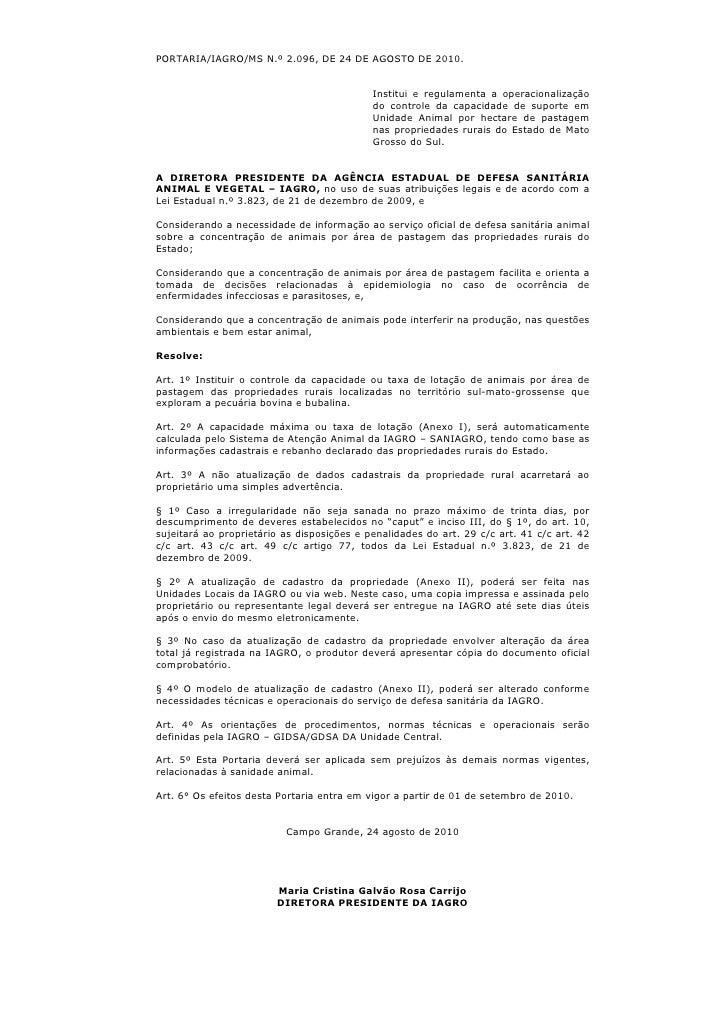 PORTARIA/IAGRO/MS N.º 2.096, DE 24 DE AGOSTO DE 2010.                                               Institui e regulamenta...