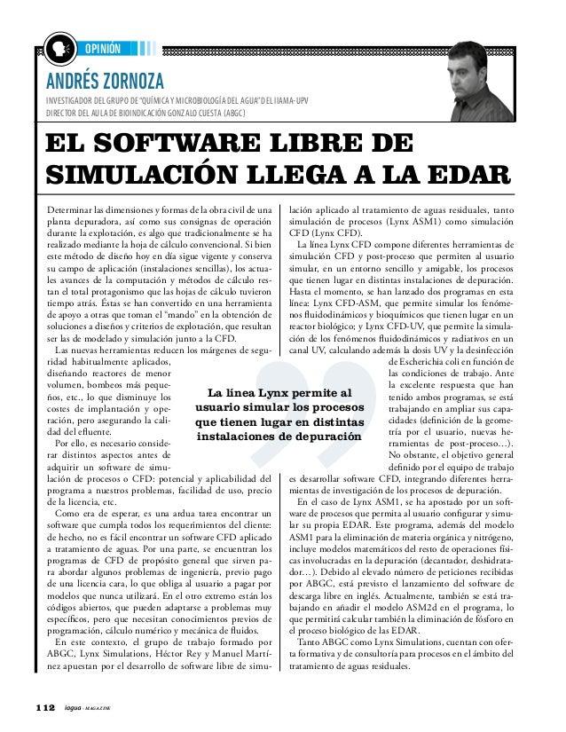 """112 - MAGAZINE ANDRÉS ZORNOZA INVESTIGADOR DEL GRUPO DE""""QUÍMICAY MICROBIOLOGÍA DEL AGUA""""DEL IIAMA-UPV DIRECTOR DEL AULA DE..."""