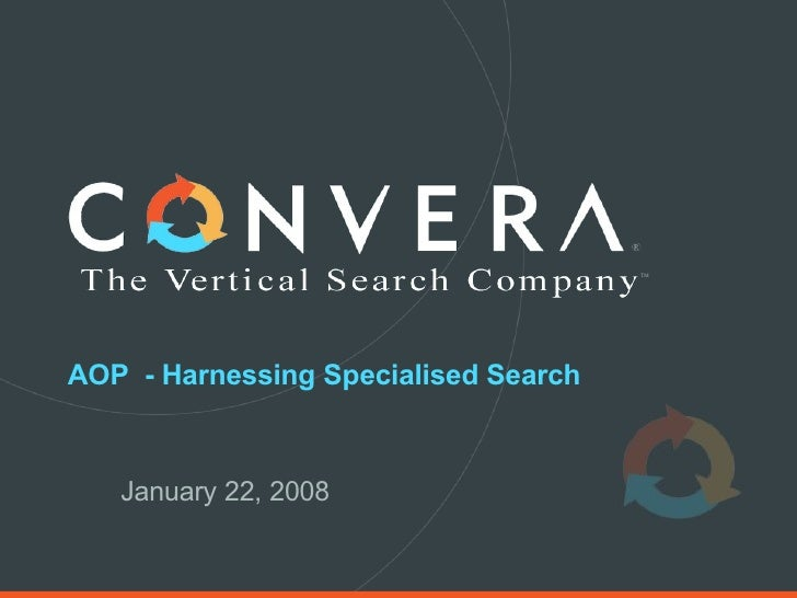 AOP  - Harnessing Specialised Search January 22, 2008