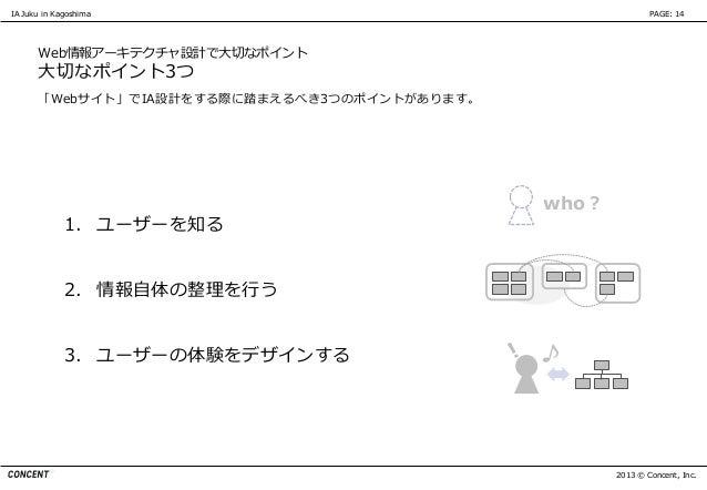 IA Juku in Kagoshima                                         PAGE: 14      Web情報アーキテクチャ設計で大切なポイント      大切なポイント3つ      「Web...