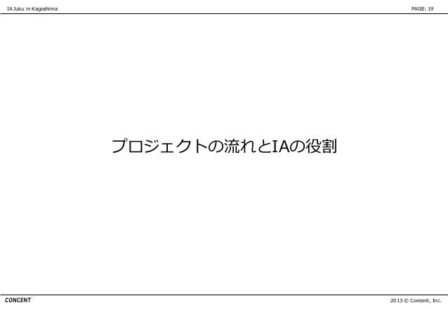 IA Juku in Kagoshima                             PAGE: 19                       プロジェクトの流れとIAの役割                           ...