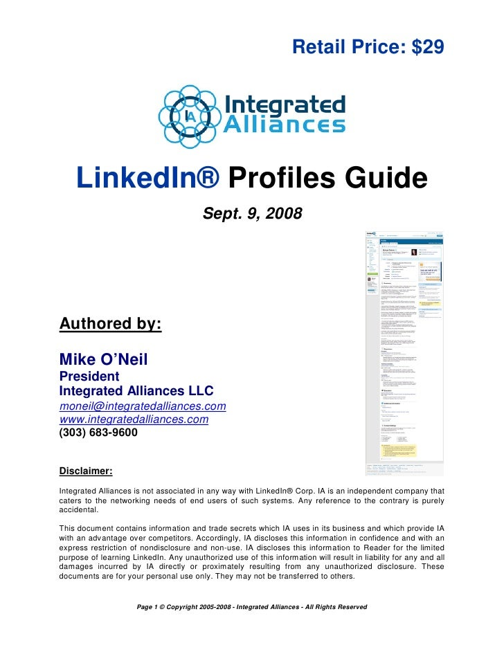 Retail Price: $29         LinkedIn® Profiles Guide                                           Sept. 9, 2008     Authored by...