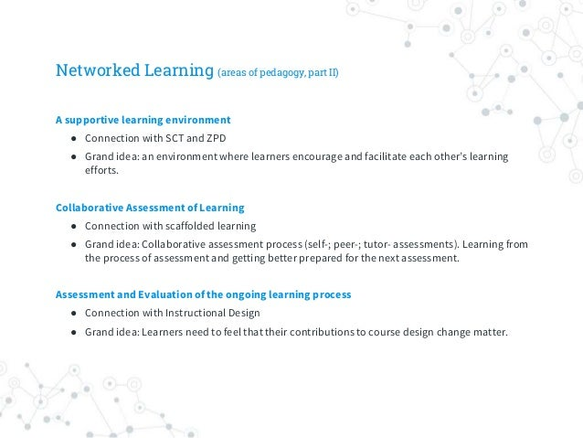 Networked Learning (areas of pedagogy, part II) A supportive learning environment ● Connection with SCT and ZPD ● Grand id...