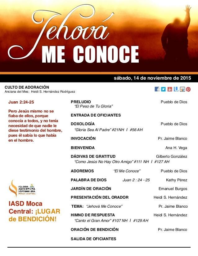 """11/12/14 PRELUDIO Pueblo de Dios """"El Peso de Tu Gloria"""" ENTRADA DE OFICIANTES DOXOLOGÍA Pueblo de Dios """"Gloria Sea Al Padr..."""