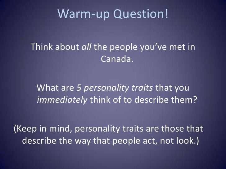 The ten most common characteristics of Canadians ... |Canadian People Characteristics
