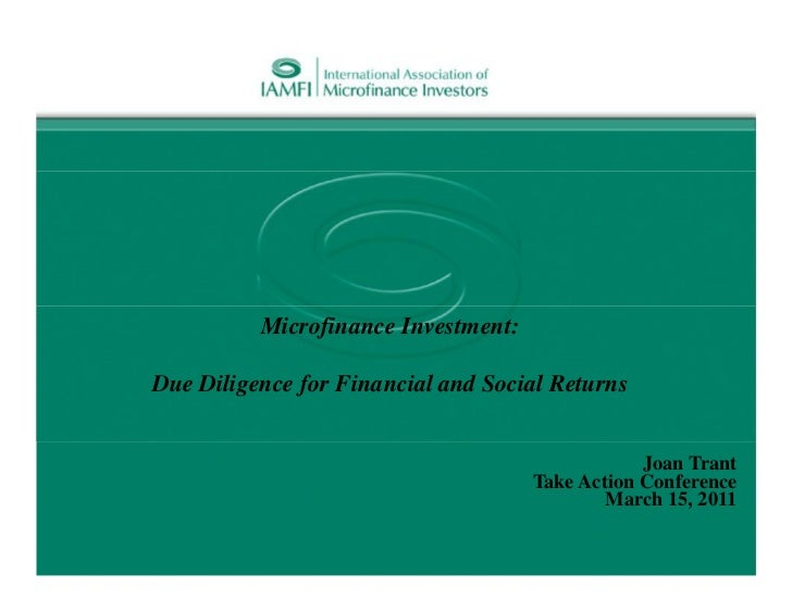 Microfinance Investment:Due Diligence for Financial and Social Returns                                                 Joa...