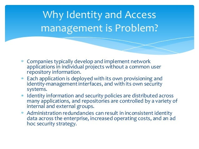 identity and access management 4 enterprise identity and access management ecosystem people assets identity management access management identity profiles organizational roles.