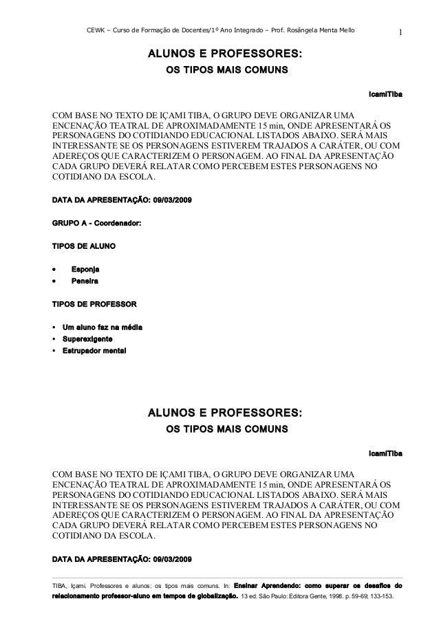 CEWK – Curso de Formação de Docentes/1º Ano Integrado – Prof. Rosângela Menta Mello ALUNOS E PROFESSORES: OS TIPOS MAIS CO...