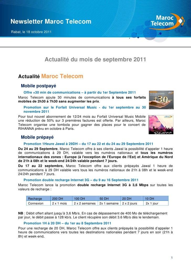 Newsletter Maroc TelecomRabat, le 18 octobre 2011                      Actualité du mois de septembre 2011    Actualité Ma...