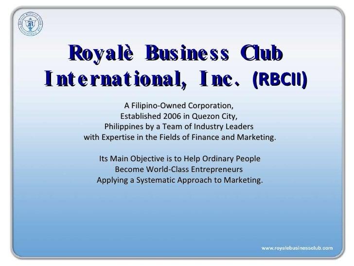 royale business club compensation plan