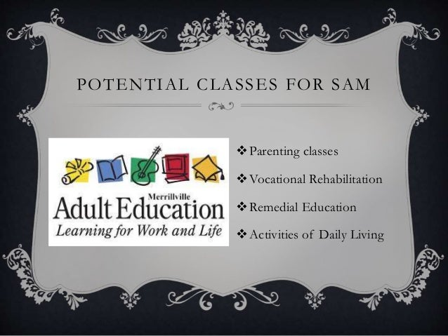 POTENTIAL CLASSES FOR SAM Parenting classes Vocational Rehabilitation Remedial Education Activities of Daily Living
