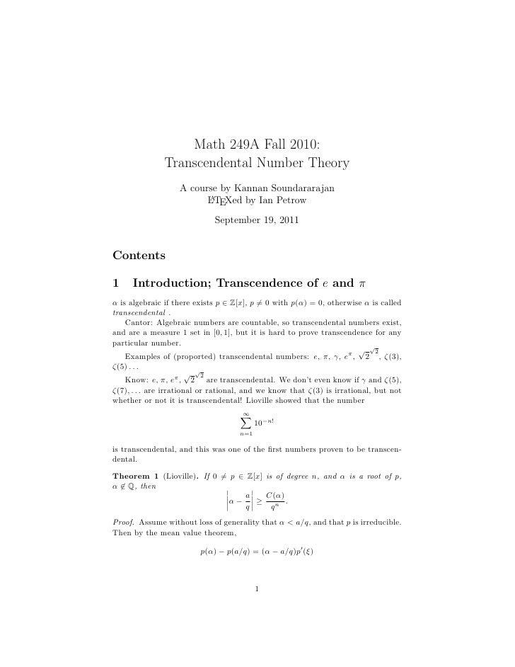 TRANSCENDENTAL NUMBER THEORY DOWNLOAD