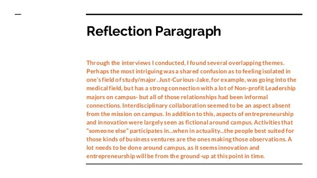 how to write a reflection paragraph example