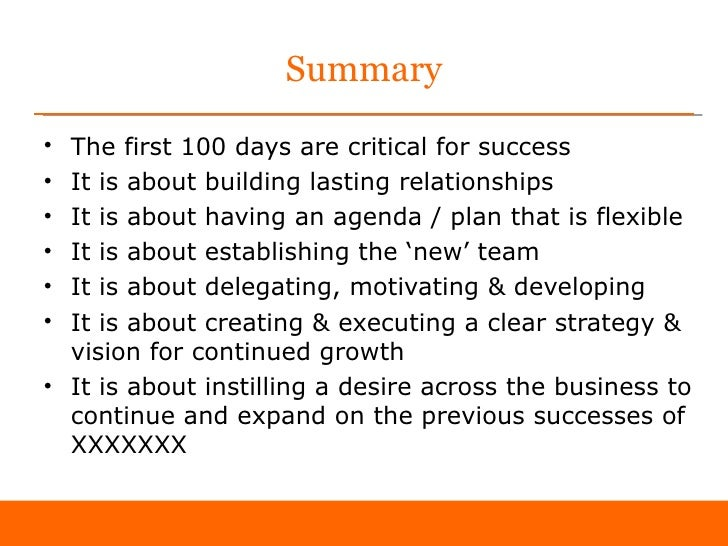 First 100 days as sales director 39 sample 39 for First 100 days plan template