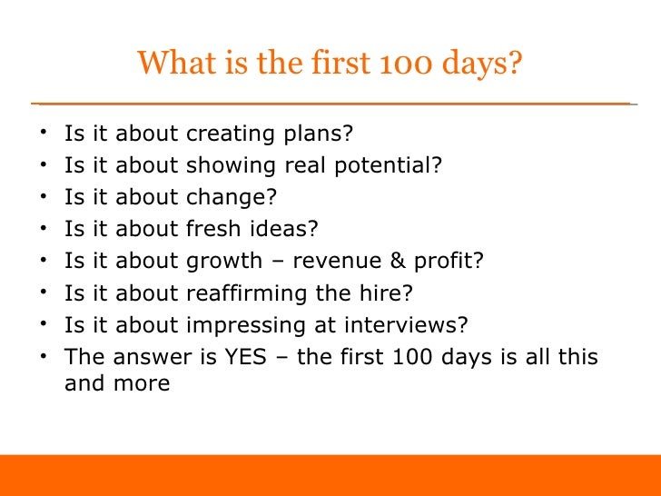 First 100 days as Sales Director 'sample'