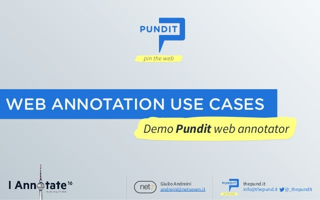 iAnnotate 2016 - Demo Pundit web annotator