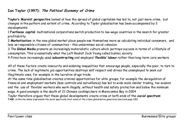 Ian Taylor (1997): The Political Economy of Crime Taylor's Marxist perspective looked at how the spread of global capitali...
