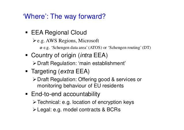 'Where': The way forward?  EEA Regional Cloud e.g. AWS Regions, Microsoft o e.g. 'Schengen data area' (ATOS) or 'Schenge...