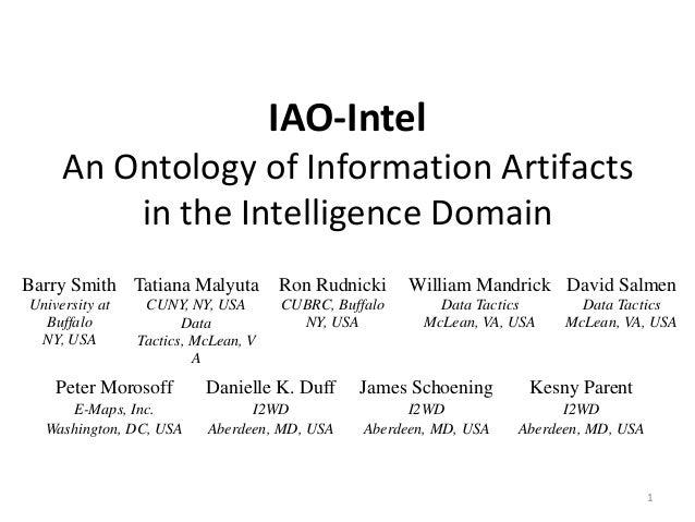 IAO-Intel An Ontology of Information Artifacts in the Intelligence Domain Barry Smith Tatiana Malyuta  Ron Rudnicki  CUNY,...