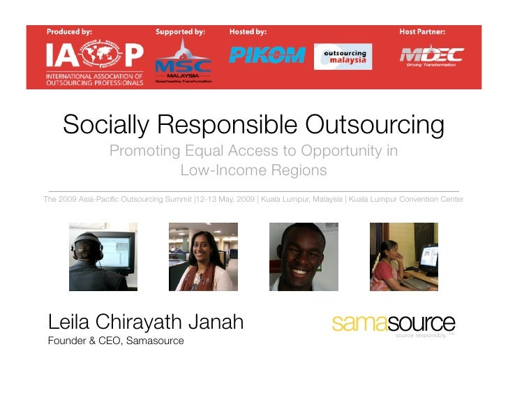 Socially Responsible Outsourcing                  Promoting Equal Access to Opportunity in                           Low-I...