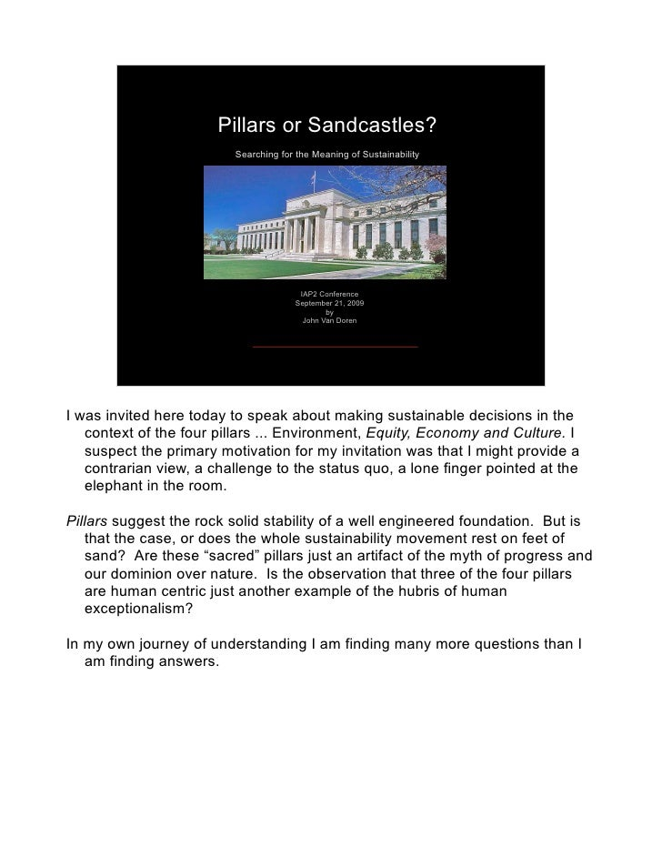 Pillars or Sandcastles?                           Searching for the Meaning of Sustainability                             ...