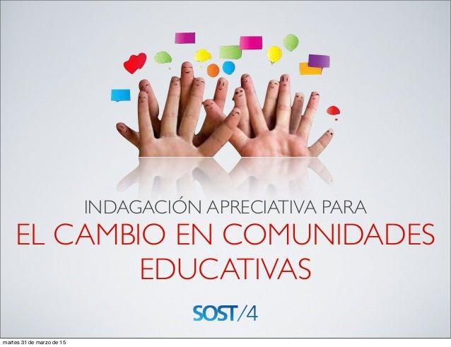 INDAGACIÓN APRECIATIVA PARA EL CAMBIO EN COMUNIDADES EDUCATIVAS martes 31 de marzo de 15