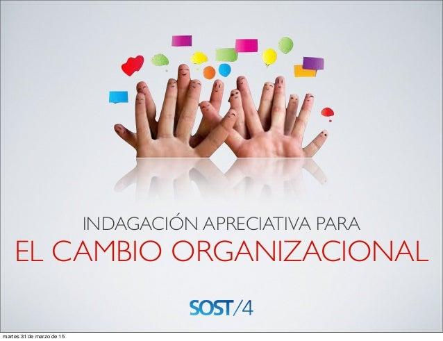INDAGACIÓN APRECIATIVA PARA EL CAMBIO ORGANIZACIONAL martes 31 de marzo de 15