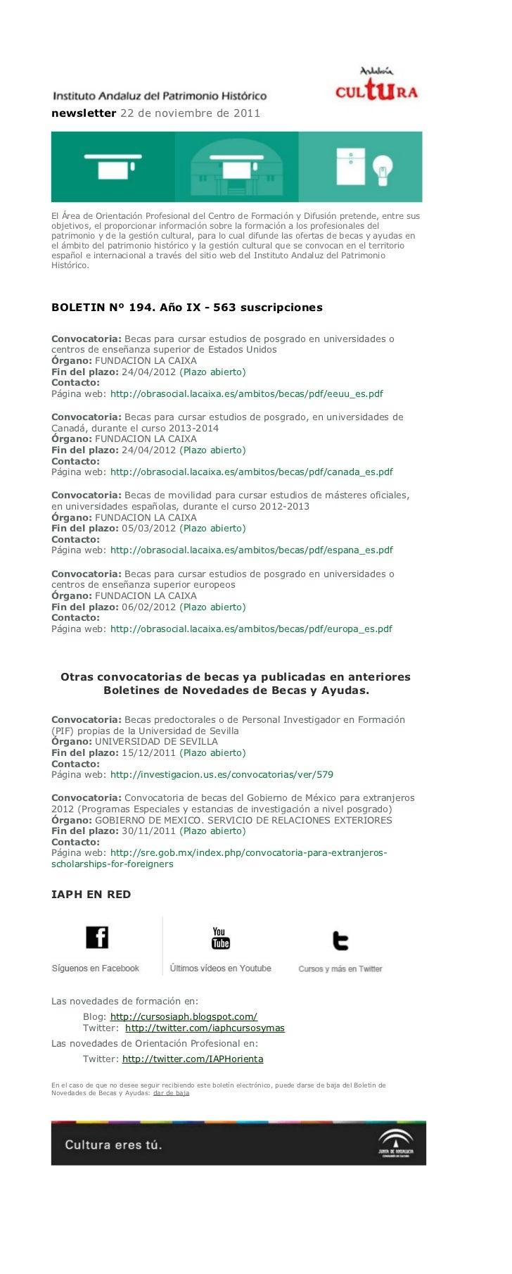 newsletter 22 de noviembre de 2011El Área de Orientación Profesional del Centro de Formación y Difusión pretende, entre su...