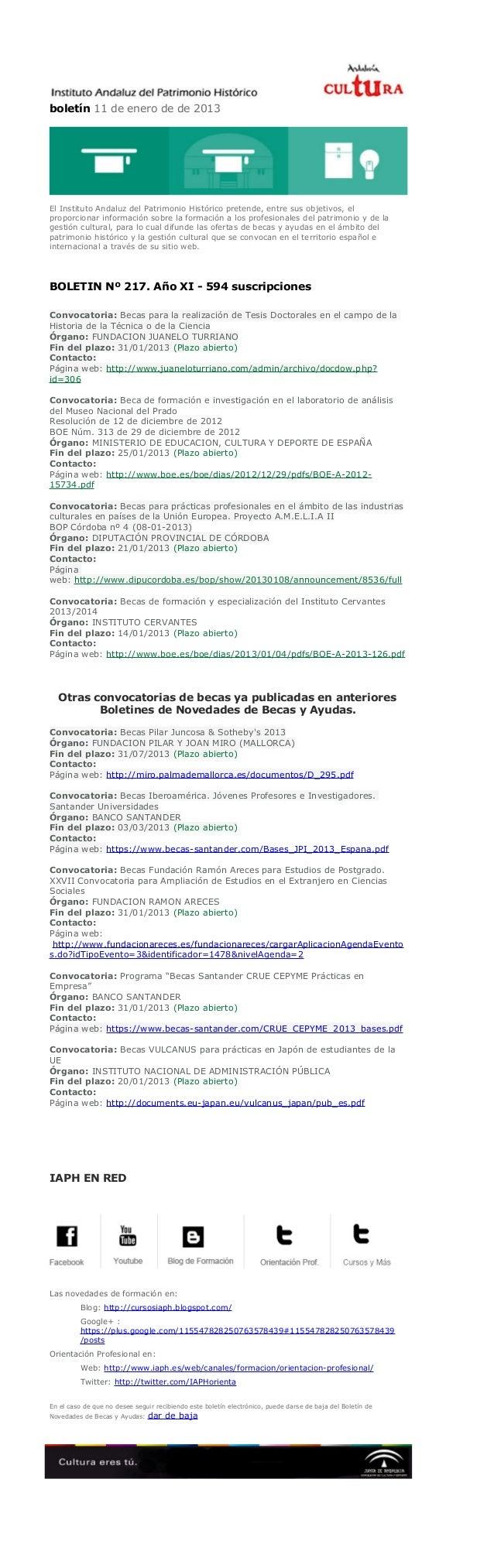 boletín 11 de enero de de 2013El Instituto Andaluz del Patrimonio Histórico pretende, entre sus objetivos, elproporcionar ...