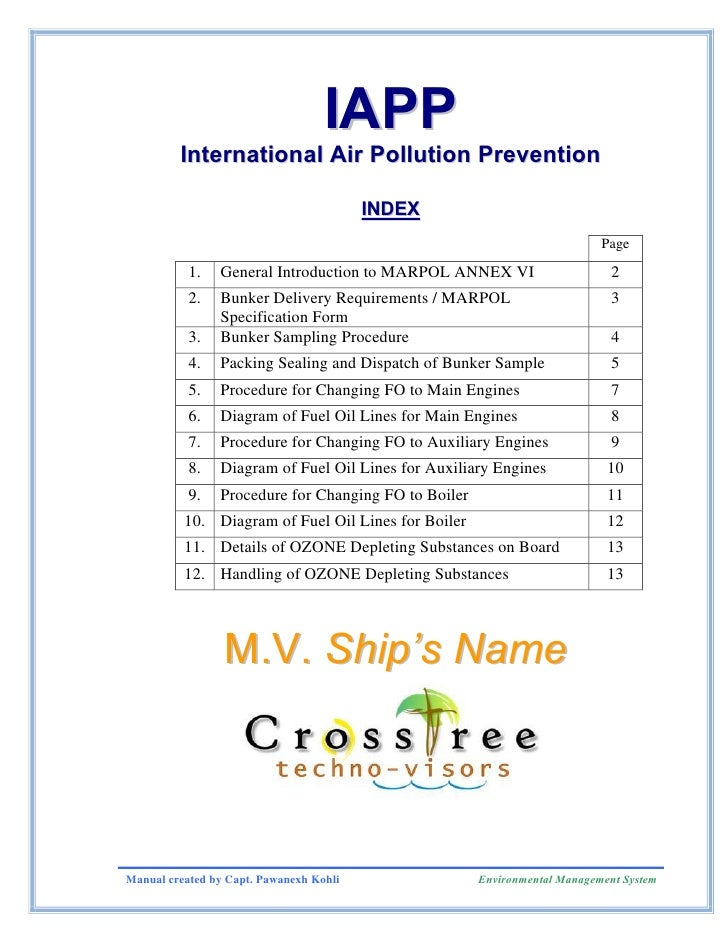 IAPP          International Air Pollution Prevention                                           INDEX                      ...