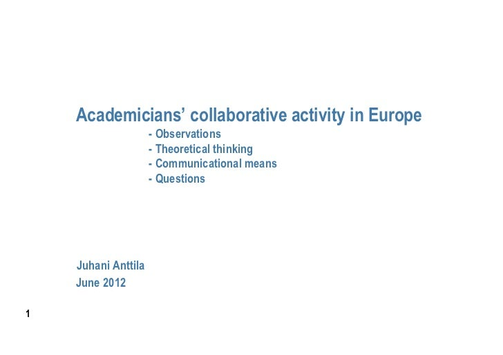 Academicians' collaborative activity in Europe                     - Observations                     - Theoretical thinki...