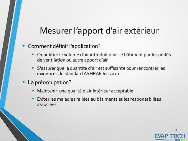 Mesurer l'apport d'air extérieur • Comment définir l'application? • Quantifier le volume d'air introduit dans le bâtiment ...