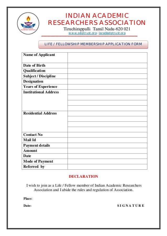 Iara membership guidelines and application form