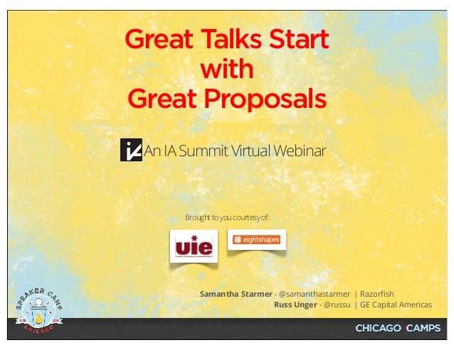 Samantha Starmer - @samanthastarmer Russ Unger - @russu | Razorfish | GE Capital Americas An IA Summit Virtual Webinar Grea...