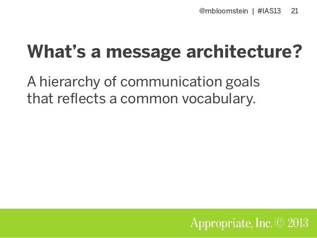 @mbloomstein | #IAS13 21 © 2013 What's a message architecture? A hierarchy of communication goals that reflects a common v...