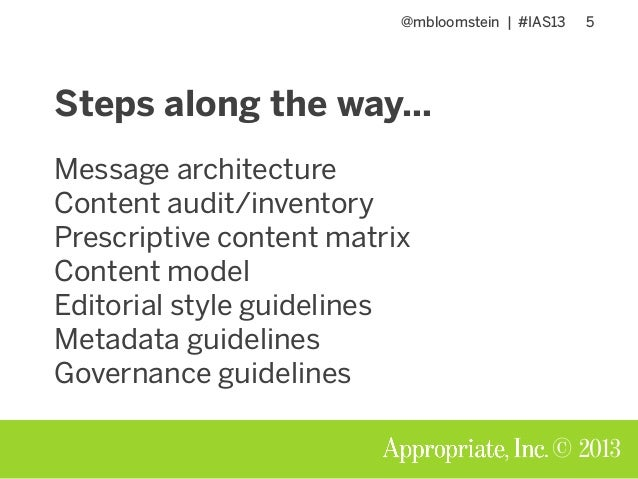 @mbloomstein | #IAS13 5 © 2013 Steps along the way… Message architecture Content audit/inventory Prescriptive content matr...
