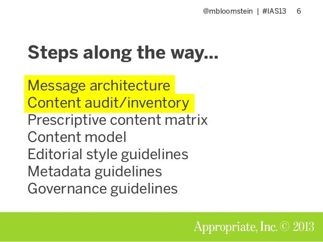 @mbloomstein | #IAS13 6 © 2013 Steps along the way… Message architecture Content audit/inventory Prescriptive content matr...