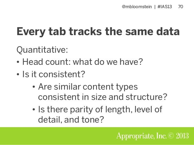 @mbloomstein | #IAS13 70 © 2013 Every tab tracks the same data Quantitative: • Head count: what do we have? • Is it consis...