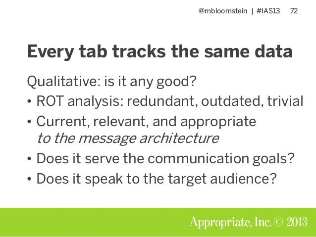 @mbloomstein | #IAS13 72 © 2013 Every tab tracks the same data Qualitative: is it any good? • ROT analysis: redundant, out...